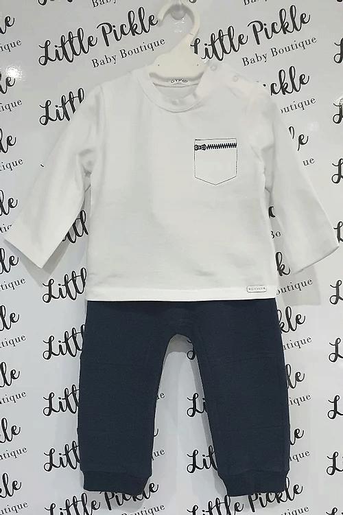 Little Pickle Baby Boutique-GYMP_Zip_T-Shirt_Navy Jogger Set